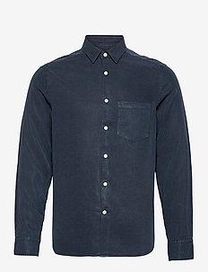 Comfort Tencel Slim Shirt - karierte hemden - jl navy