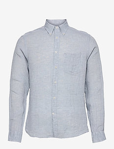 Linen Melange Slim Shirt - basic-hemden - steel blue