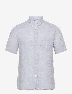Linen Melange SS Slim Shirt - basic skjortor - steel blue
