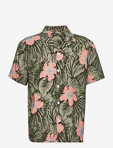Viscose Print SS Resort Shirt - kurzarmhemden - sage