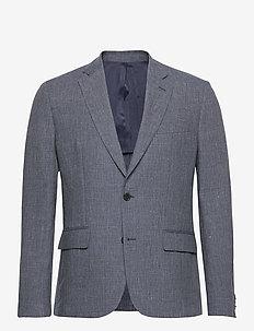 Hopper Soft-Tech Linen - enkeltkneppede blazere - mid blue