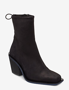 Block heel-Nubuck Leather - BLACK