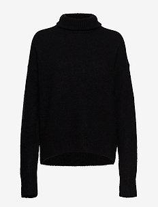 Ylva-Fuzzy Mohair - turtlenecks - black