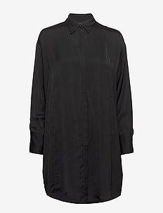 Nicoletta-Liquid Satin - shirt dresses - black