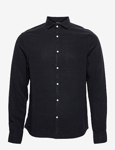 Comfort Tencel Slim Shirt - linneskjortor - jl navy