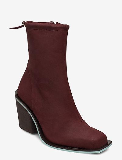 Block heel-Nubuck Leather - enkellaarsjes met hak - dark mocca