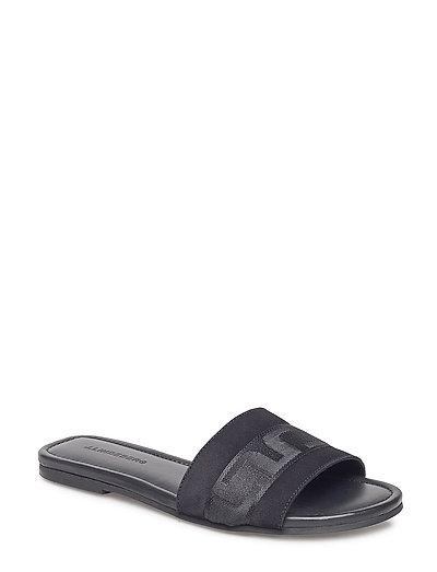 J Lindeberg Flat Suede Sandals Women black Meilleur Endroit Pour Acheter En Ligne zv1fYW