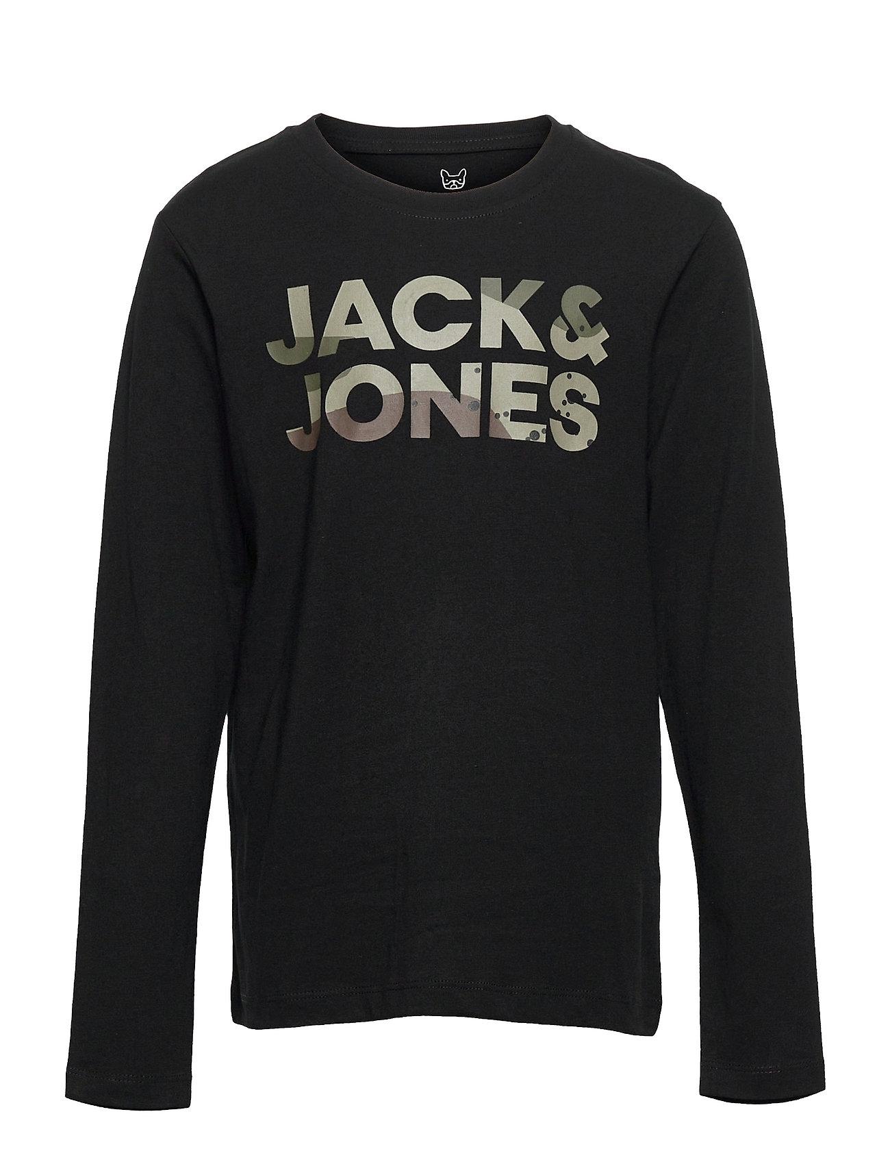 Jcodolan Tee Ls Crew Neck Jr Langærmet T-shirt Sort Jack & J S