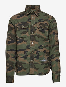 JPRTEO CPO SHIRT L/S WORKER JUNIOR - OLIVE NIGHT
