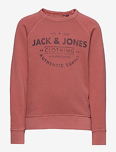 JJEJEANS WASHED SWEAT CREW NECK JR - bluzy - rio red