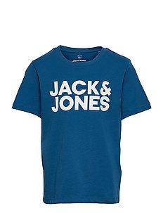 JACK /& JONES Junior kurzarm T-shirt JJElogo dunkelblau Größe 128 bis 176