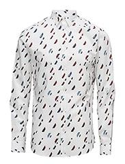 JPRGEOMETRIC RAIN SHIRT L/S PLAIN - WHITE