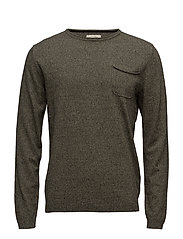 jjvCASPER KNIT CREW NECK - DEEP LICHEN GREEN