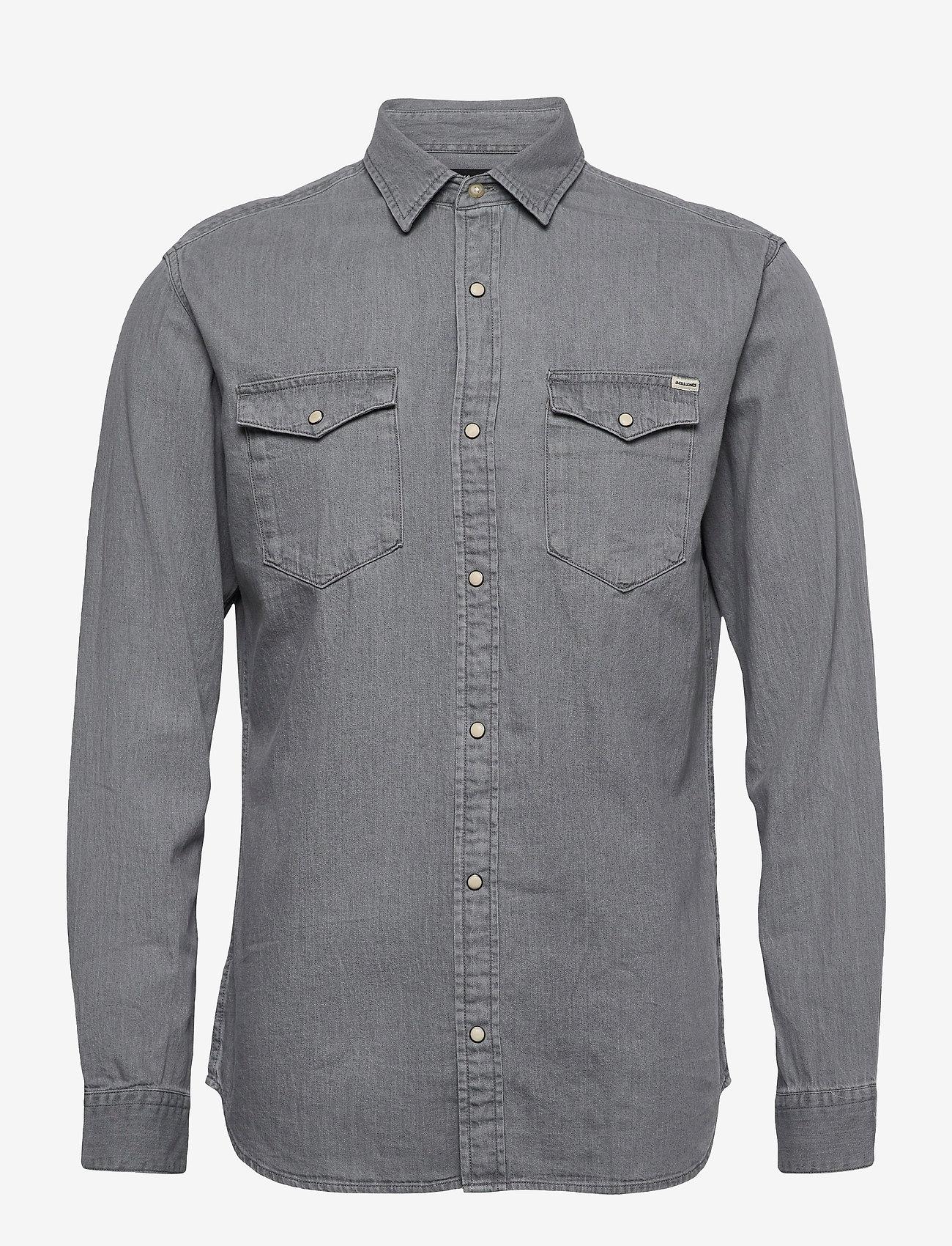 Jack & Jones - JJESHERIDAN SHIRT L/S - jeansskjortor - light grey denim - 0