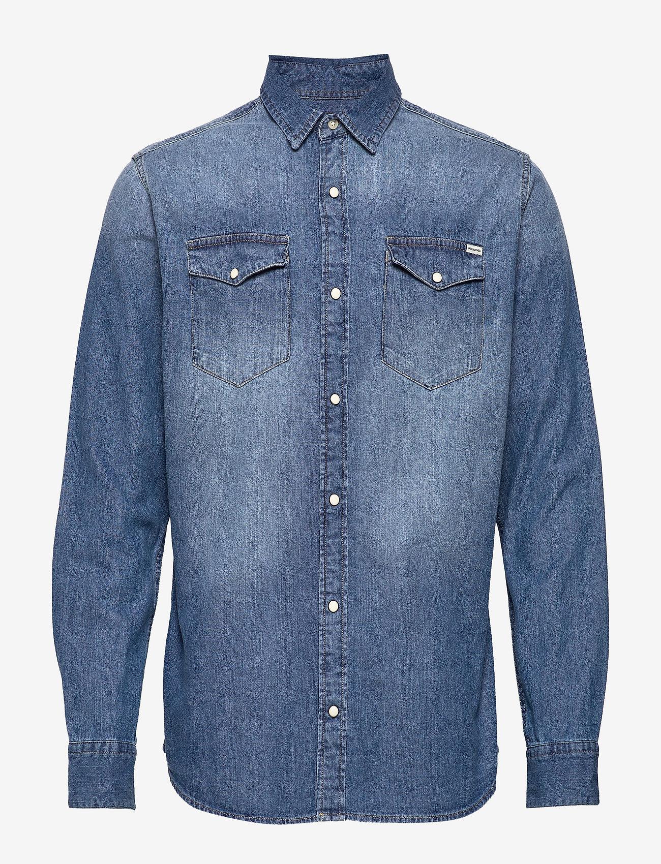 Jack & Jones - JJESHERIDAN SHIRT L/S - jeansskjortor - medium blue denim - 0