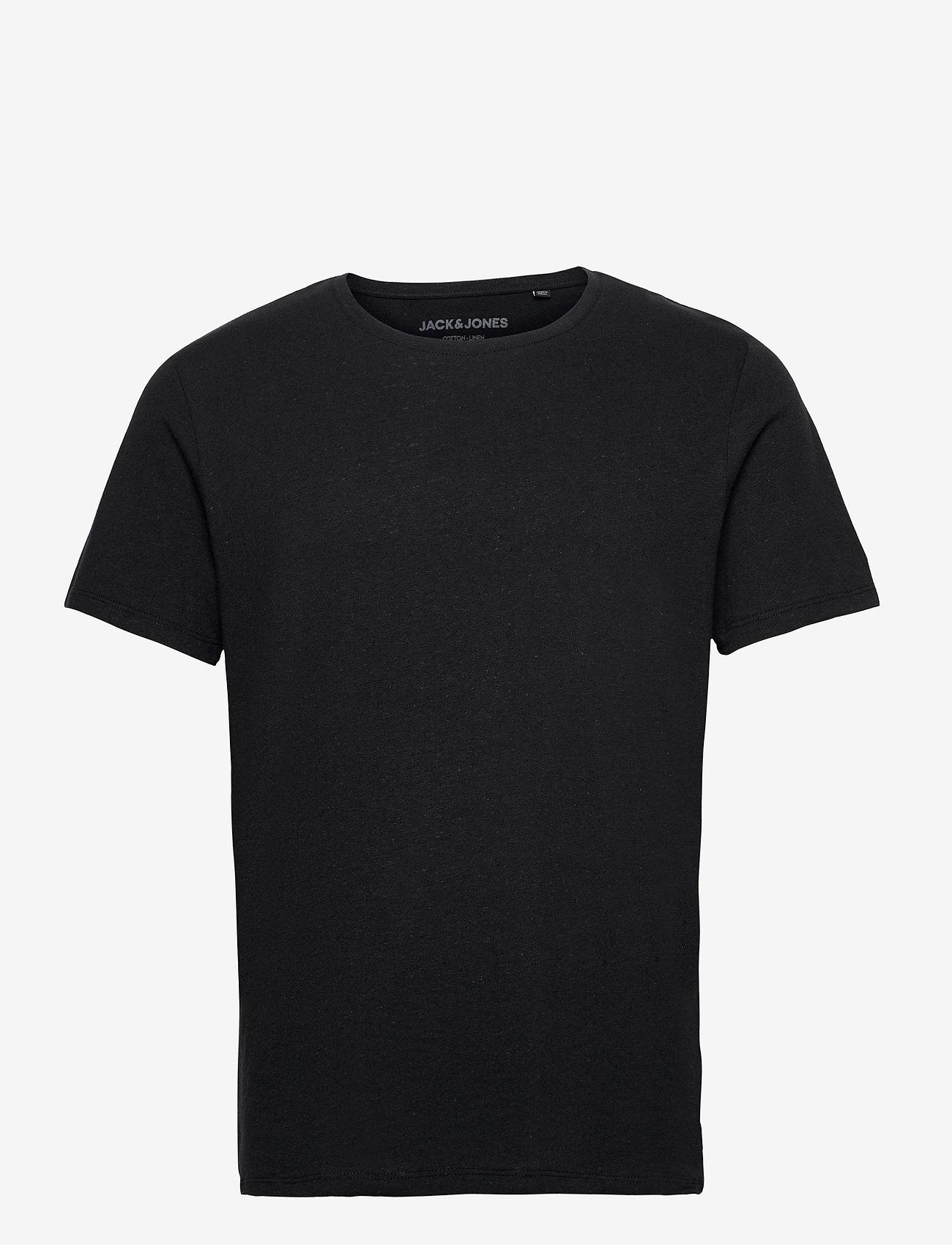 Jack & Jones - JJELINEN BASIC TEE SS CREW NECK STS - basic t-shirts - black - 0