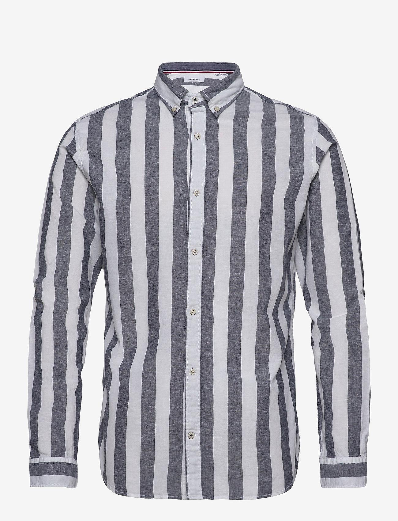 Jack & Jones - JJESUMMER MIX SHIRT L/S S20 STS - casual skjortor - navy blazer - 0