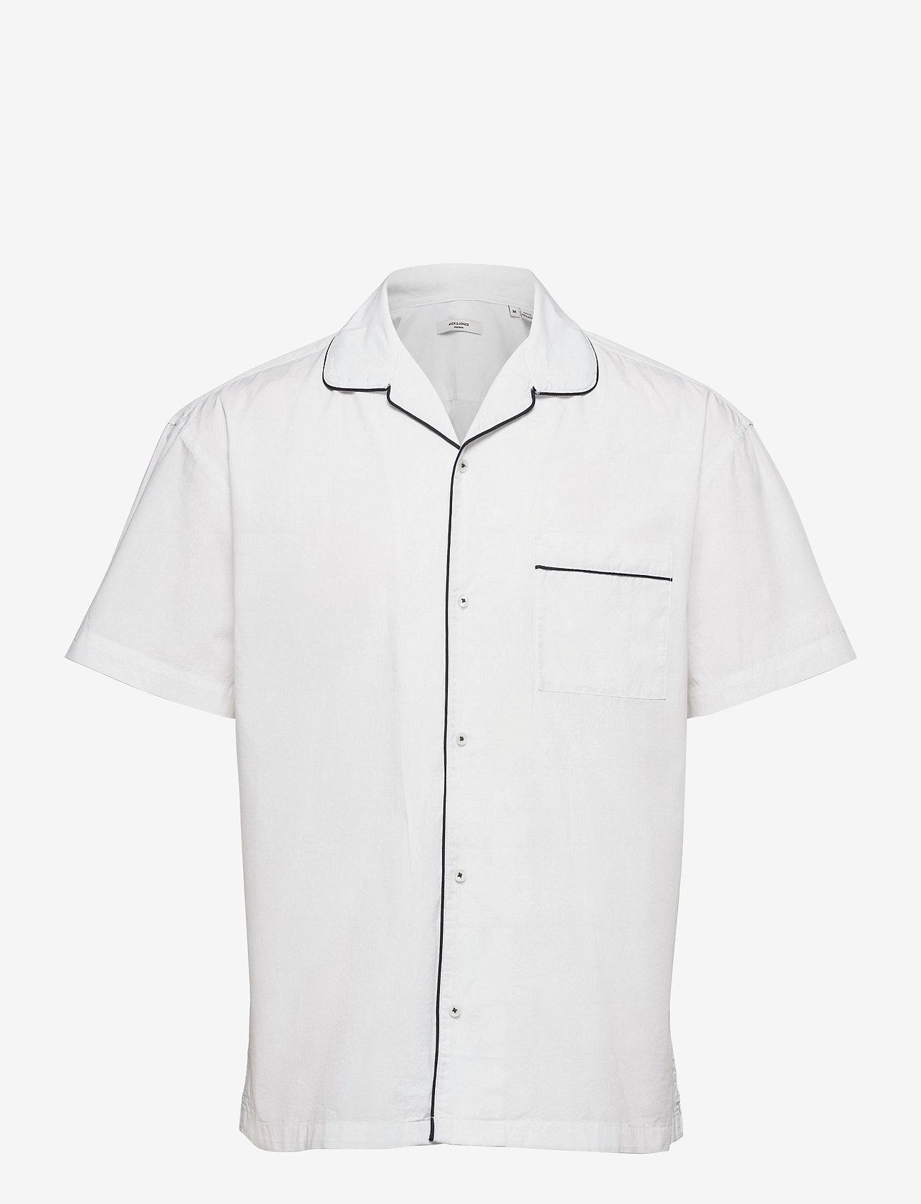 Jack & Jones - JPRBLAPIPING RESORT SHIRT S/S RELAX - kortärmade skjortor - white - 0