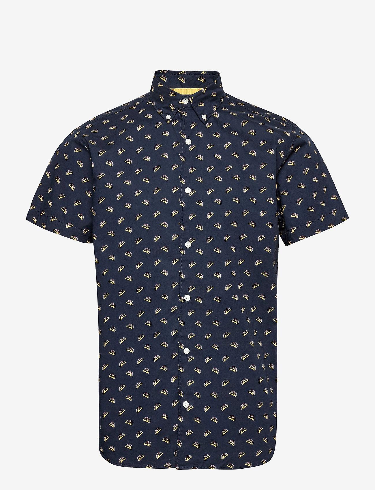Jack & Jones - JORANDREW SS SHIRT SH - kortärmade skjortor - navy blazer - 0