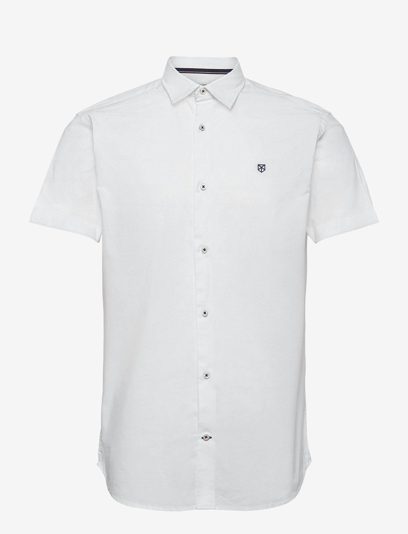 Jack & Jones - JPRBLAWORLD LOGO SHIRT S/S STRETCH EXP - kortärmade skjortor - white - 0