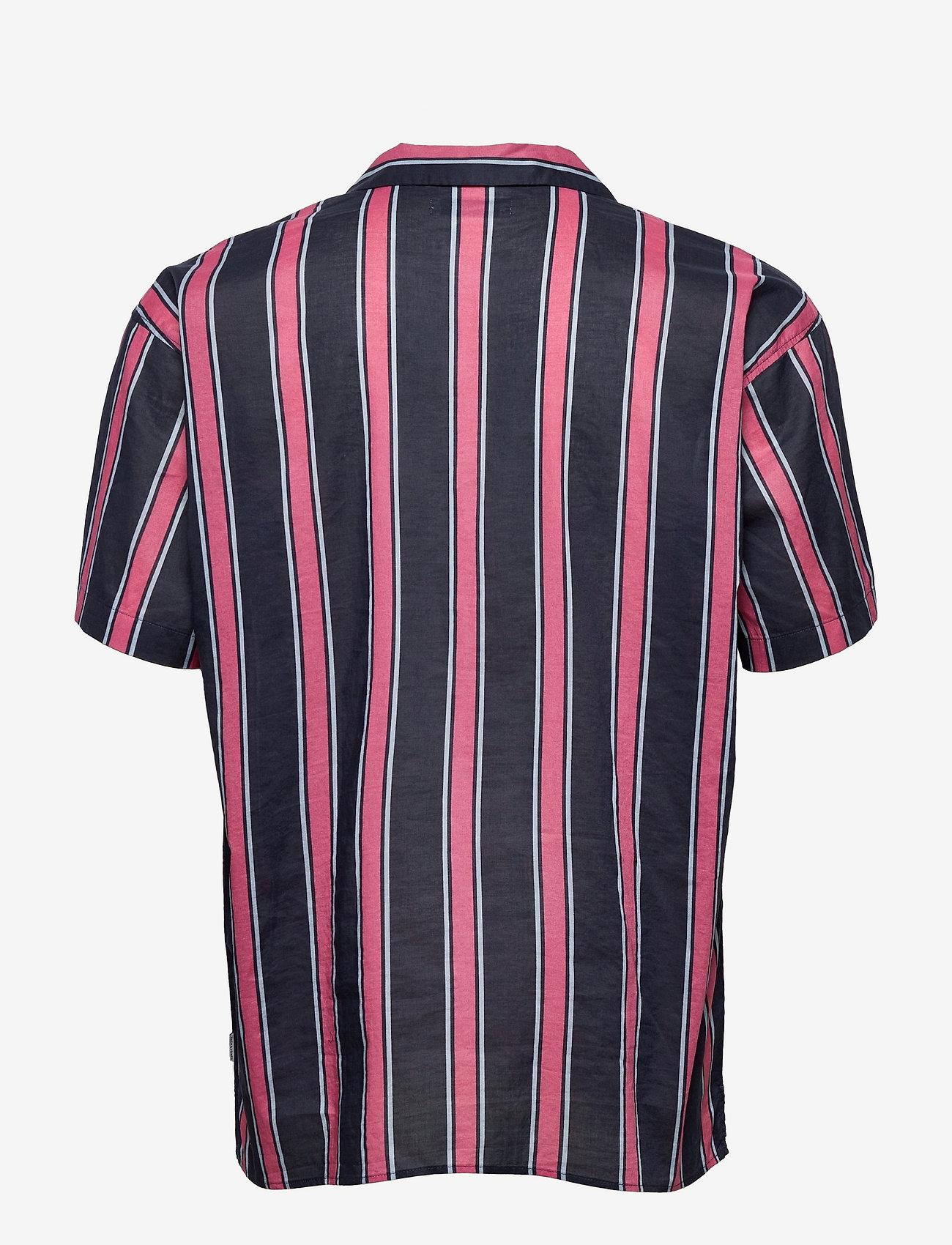 Jack & Jones - JJGREG STRIPE SHIRT SS PLAIN - kortärmade skjortor - slate rose - 1