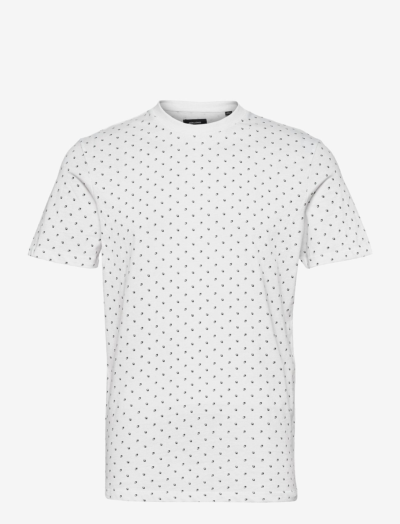 Jack & Jones - JJMINIMAL AOP TEE SS CREW NECK - kortärmade t-shirts - white - 0