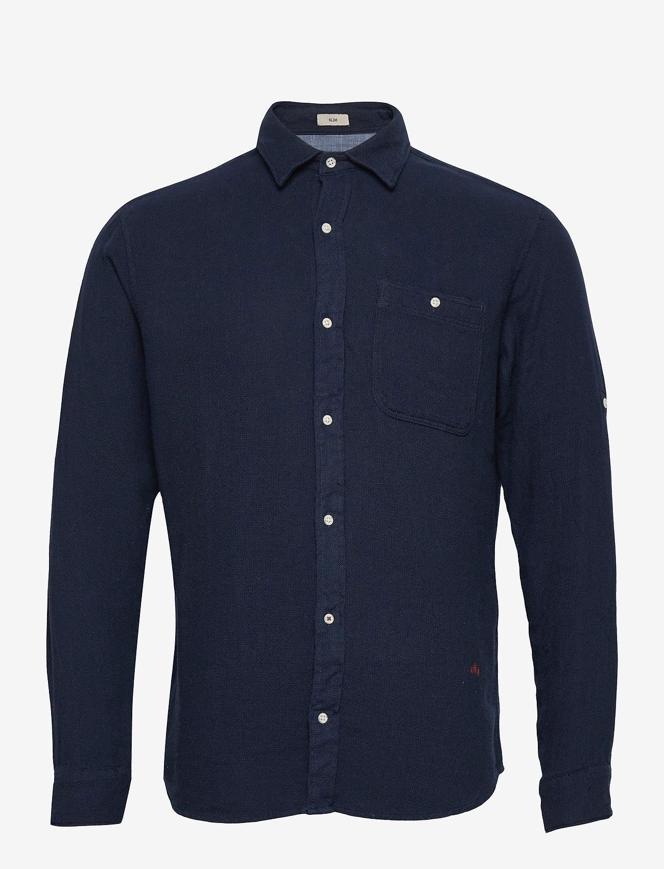 Jack & Jones - JPRBLUNICK MIX SHIRT L/S ONE POCKET LTN - basic skjortor - dark blue denim - 0