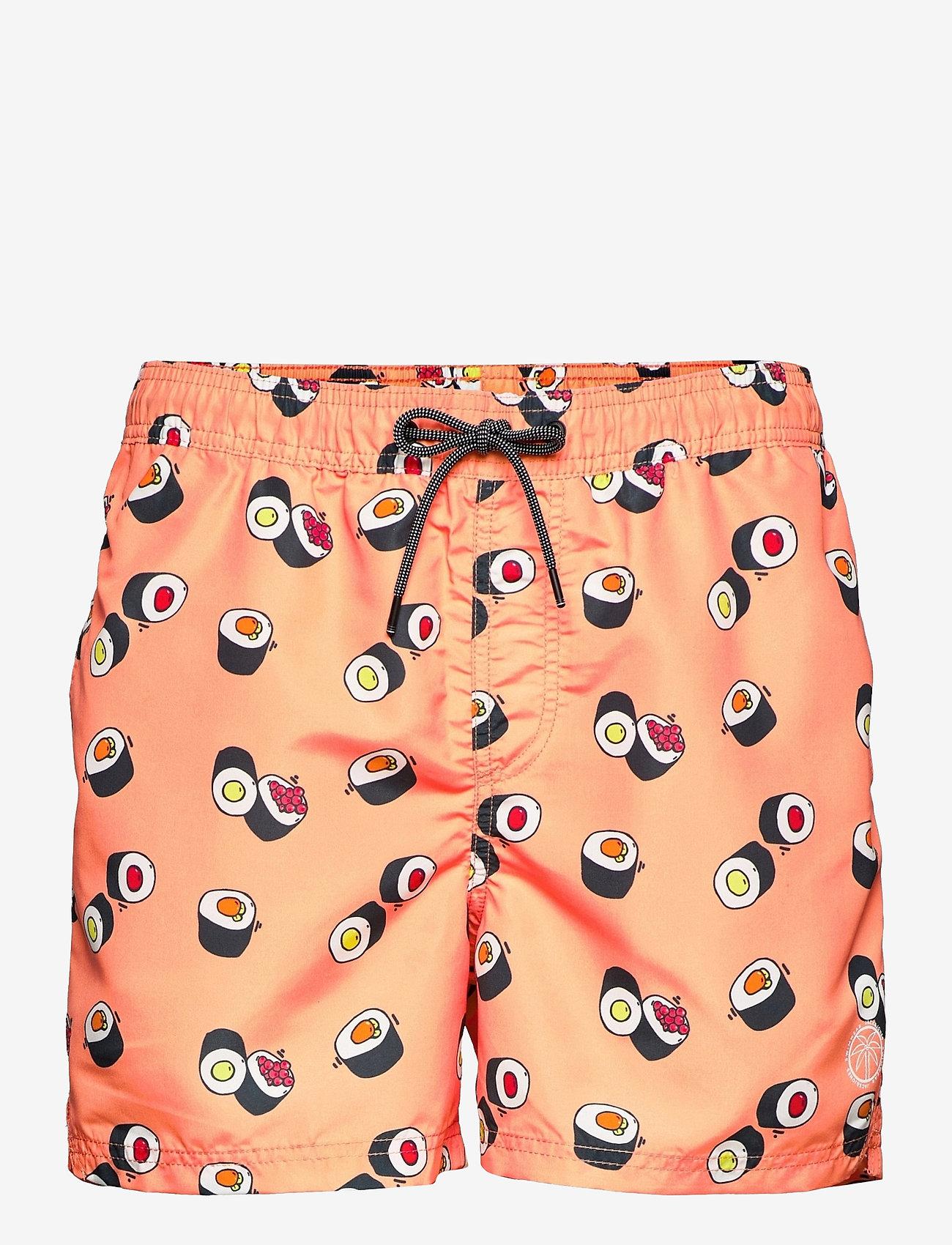 Jack & Jones - JJIBALI JJSWIMSHORTS AKM FUNNY FOOD - shorts de bain - shell coral - 0