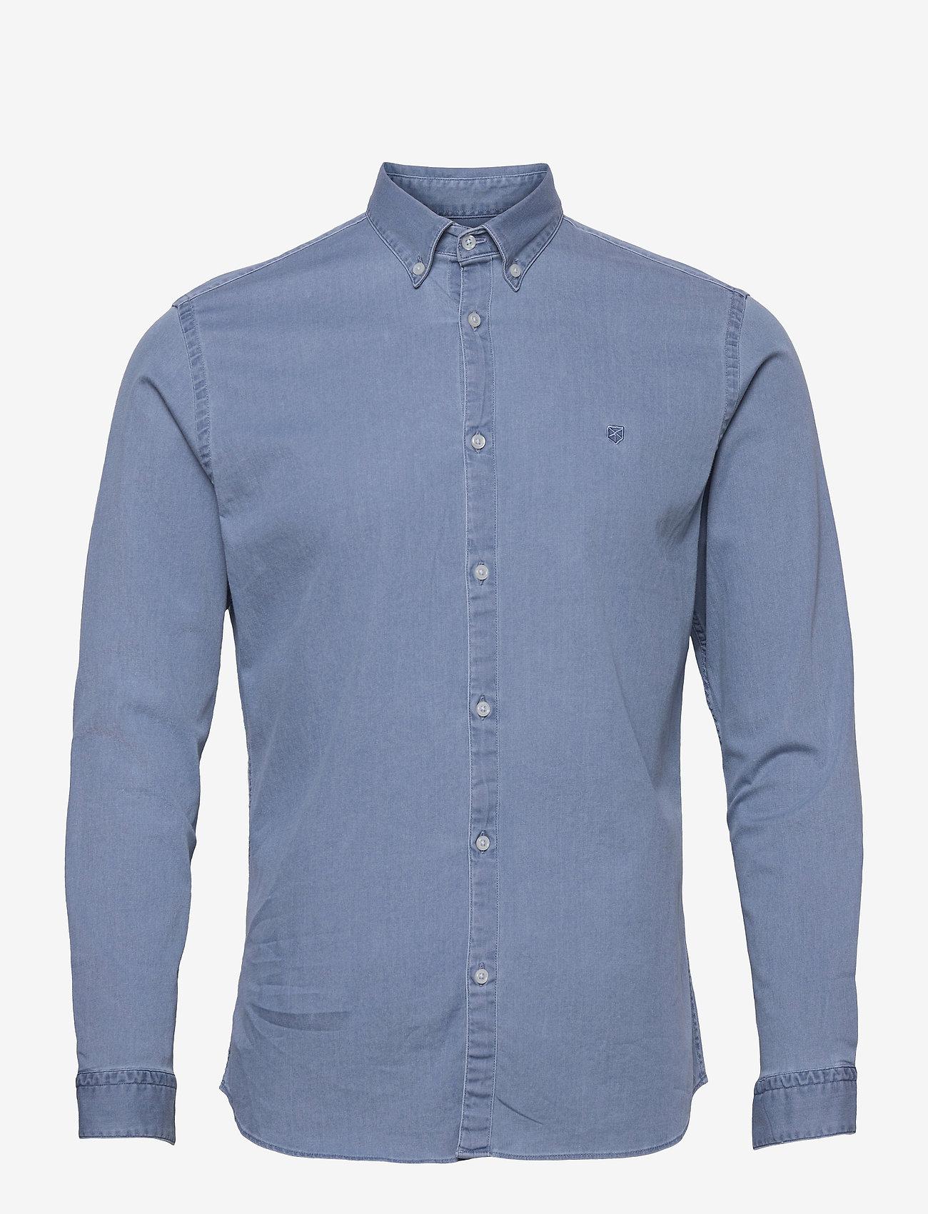Jack & Jones - JPRBLALOGO STRETCH DENIM SHIRT L/S STS - basic skjortor - light blue denim - 0