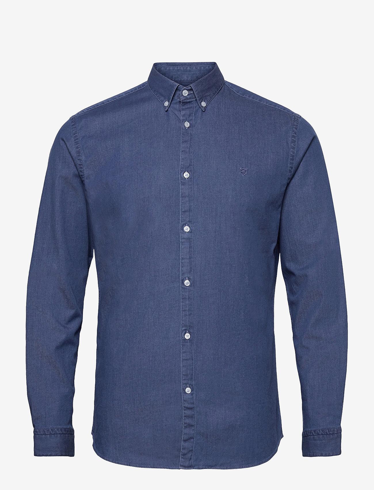 Jack & Jones - JPRBLALOGO STRETCH DENIM SHIRT L/S STS - basic skjortor - medium blue denim - 0