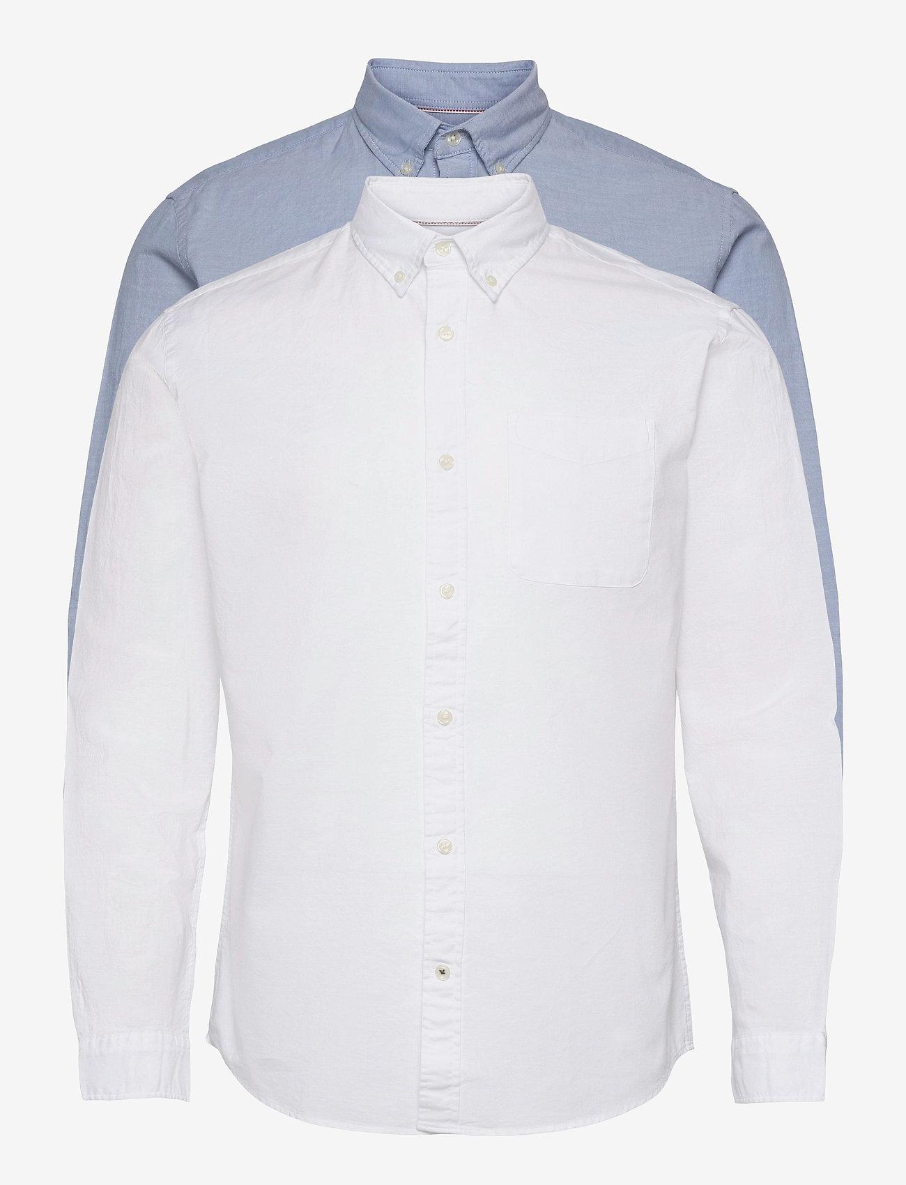 Jack & Jones - JJEOXFORD SHIRT L/S S21 2PK MP - basic skjortor - cashmere blue - 0