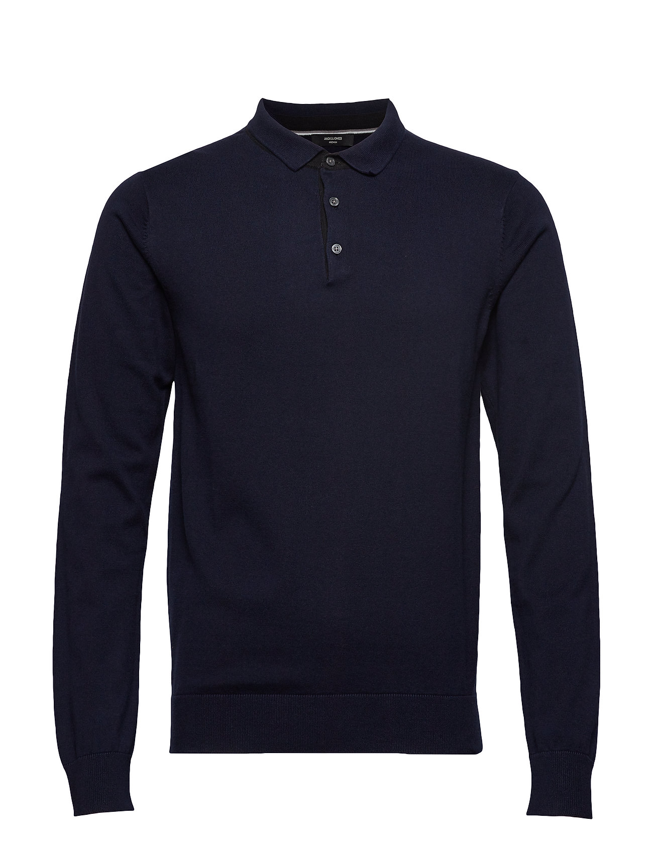 Jack & Jones JPREDGAR KNIT POLO LS - MARITIME BLUE