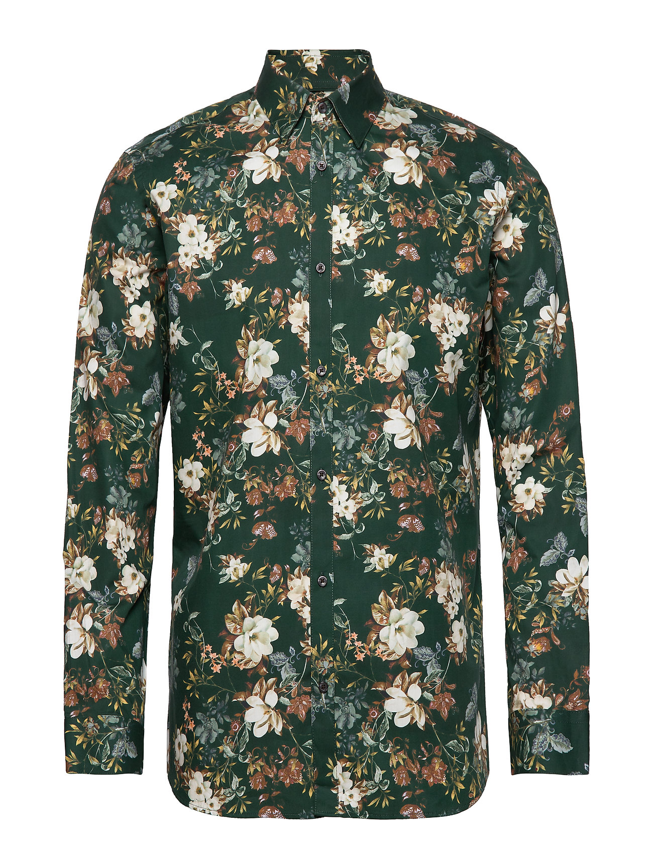 Jack & Jones JPRHANK FLOWER SHIRT L/S PLAIN - DARKEST SPRUCE