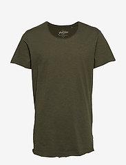 Jack & Jones - JJEBAS TEE SS U-NECK - basic t-shirts - thyme - 0