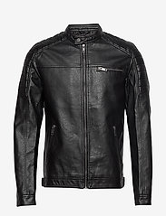Jack & Jones - JJEROCKY JACKET NOOS - læderjakker - black - 0