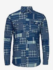 Jack & Jones - JPRBLUPATCH SHIRT L/S WORKER - rutiga skjortor - faded blue - 0