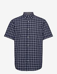 Jack & Jones - JORDENNIS SHIRT SS - rutiga skjortor - navy blazer - 0