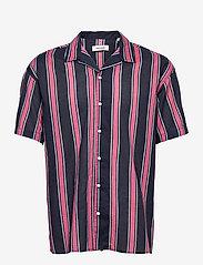 Jack & Jones - JJGREG STRIPE SHIRT SS PLAIN - kortärmade skjortor - slate rose - 0