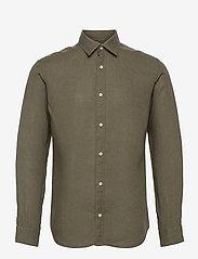 Jack & Jones - JPRBLUPLAIN LINEN SHIRT L/S - basic skjortor - beetle - 0