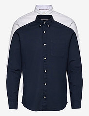 Jack & Jones - JJEOXFORD SHIRT L/S S21 2PK MP - basic skjortor - navy blazer - 0