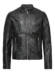 JPRRICHARD CLEAN LEATHER JACKET STS - BLACK
