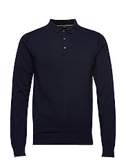 JPREDGAR KNIT POLO LS - MARITIME BLUE