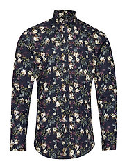 JPRHANK FLOWER SHIRT L/S PLAIN - NAVY BLAZER