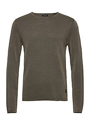 JJELEO KNIT CREW NECK NOOS - DUSTY OLIVE