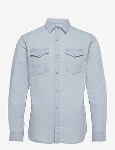 JJESHERIDAN SHIRT L/S - jeansskjortor - light blue denim