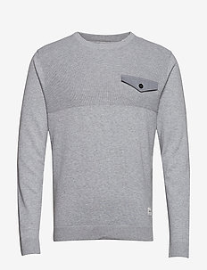 JCOPOCKET KNIT CREW NECK - LIGHT GREY MELANGE