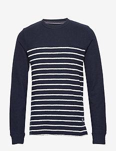 JPRDENIM STRIPE BLU. SWEAT CREW NECK - sweats - navy blazer