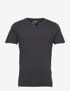 JJESPLIT NECK TEE SS - basic t-shirts - black