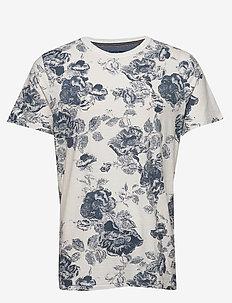 JPRCALEB BLU. AOP TEE SS CREW NECK - kortærmede t-shirts - cloud dancer