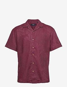 JPRBLUCOOPER RESORT SHIRT S/S RELAX - rutiga skjortor - zinfandel
